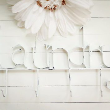 White Laundry Room Decor / Laundry Room Sign / Laundry Room Wall Decor / White Decor / Laundry Hooks / Towel Rack / Clothes Line / Wall Hook