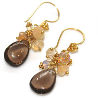 Smoky Quartz Chocolate BrownTeardrops Ethiopian Opal Gold Vermeil Bali Flower Dangle Drop Cluster Earrings Handcrafted Gemstone Jewelry