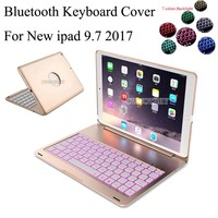 7 Colors Backlit Light Wireless Bluetooth Keyboard Case Cover For iPad 9.7 New 2017 A1822 A1823 tablet +Screen film+stylus pen