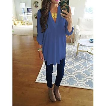 Loose Fit V-Neck Tunic with High/Low Hem- Up