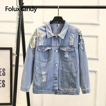 Trendy Hole Ripped Denim Jacket Women Plus Size High Street Fashion Sequins Jackets Outerwear Sky Blue SWM1225 AT_94_13