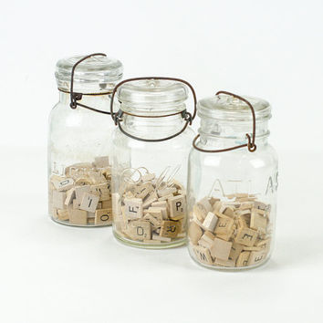 Antique Canning Jar Collection with Glass Lids