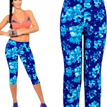 Yomsong Blue Orchid Leggings High Waisted Floral Printing Yoga Pants Lady's Fitness Workout Casual Pants Gym Wear (Size: XL, Color: Blue) = 1933083012