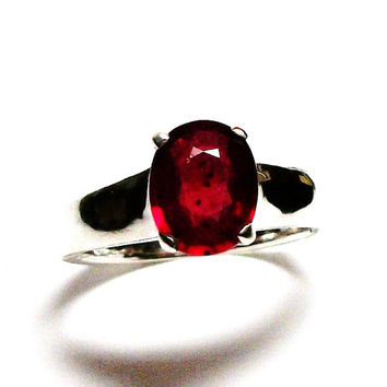 "Ruby, ruby ring, ruby solitaire ring, birthstone ring, red, ruby jewelry, s 7 1/4   ""Wild Irish Rose"""