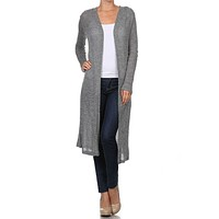 Solid Colors Peppered Light Knit Draped Open Front Long Sheer Cardigan