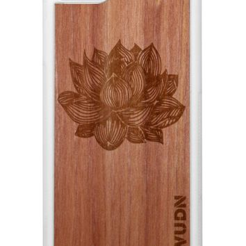 Slim Wooden iPhone Case White | Yoga Lotus