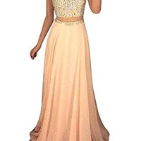 MARSEN Women's High Neck Two Piece Long Prom Dress Beaded Chiffon Evening Gown