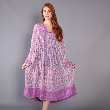 70s India Gauze BOHO DRESS / 1970s Lavender & Metallic Gold Indian Cotton