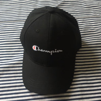 Black Champion Printed Cotton Adjustable Sport Caps Hats