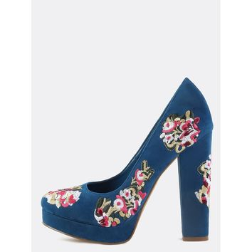 Faux Suede Floral Embroidered Pumps BLUE