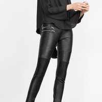 Black Leather Pants with Zipper Pocket Trendy and Sexy Leather Pants