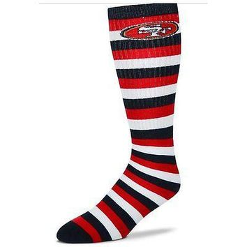 San Francisco 49ers Striped Knee High Hi Tube Socks One Size Fits Most Adults