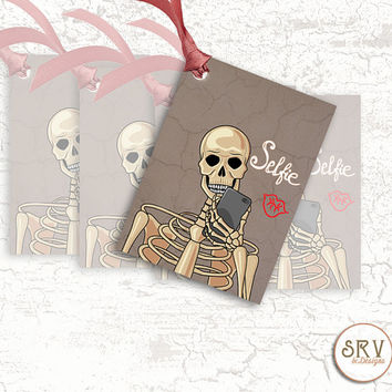 8 Skeleton Gift Tags, Skeleton Taking a Selfie, 2.5 x 3.5 Hang Tag, Funny Tags, Product Tag, Write Message on Back, Choose Ribbon Color