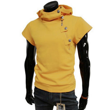 2017 Brand New Summer Mens Fashion Slim Fit Short-sleeved Hooded Hoodies Solid Color Casual Sweatshirts 3 Colors Size L-XXL
