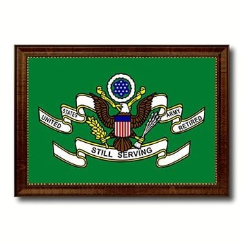 US Army Retired Still Serving Military Flag Canvas Print with Brown Picture Frame Home Decor Wall Art Decoration Gifts