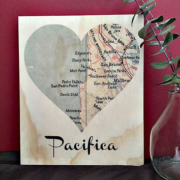Pacifica Map Rustic Heart Print