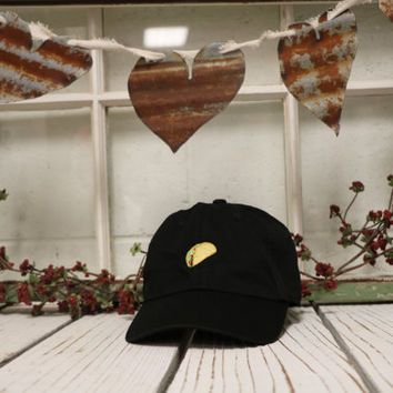 TACO Baseball Hat Low Profile Embroidered Baseball Caps Dad Hats Black