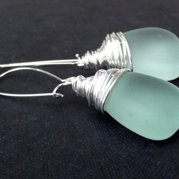 Light Aqua Sea Glass Earrings: Fine Silver Wire Wrapped Seafoam Mint Green Beach Jewelry, Pierced Wire Hook Earrings