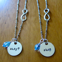 """The Fault in our Stars Inspired """"Okay"""" Friendship Necklaces. Set of 2. Infinity symbol. Silver colored with a Swarovski crystal."""