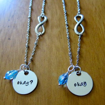 "The Fault in our Stars Inspired ""Okay"" Friendship Necklaces. Set of 2. Infinity symbol. Silver colored with a Swarovski crystal."