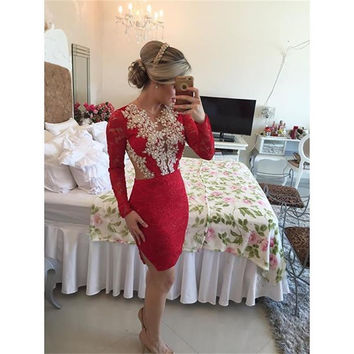 Cocktail Dresses Beaded Short Red Long Sleeve Graduation With Appliques 2017 New vestidos de fiesta  Dress