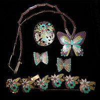 Margot De Taxco Sterling and Enamel 5 Piece Set