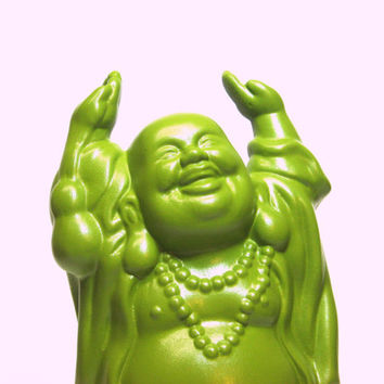 Chartreuse Buddha Statue - Buddhist God Figurine - Green Home Decor