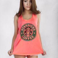 Starbucks Graphic Printed Tank Neon Tops