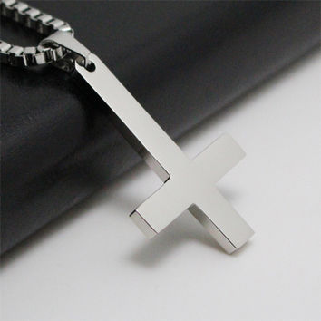 IMC Silver 316L Stainless Steel Inverted Cross Titanium steel Pendant Necklace Lucifer Satan Vintage Punk Jewelry