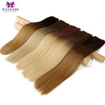 ONETOW Neverland 24' 60cm 5 Clips Straight Ombre Synthetic False Hairpiece Clip in One Piece Hair Extensions For Women Girls
