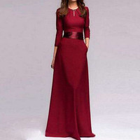 Women Solid Sexy Formal Long Sleeve A-Line Empire Party Elegant Dress Cocktail Wedding Maxi Bridesmaid Long Dress