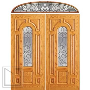 Pre-hung Mahogany Center Arch Lite Entry Double Door Transom