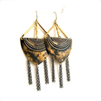 Black Patinaed Brass Shield, Chain Tassel -Patina Earrings - Chandelier Boho Tribal Long Fringe Earrings - Handmade Fashion - Summer Trends
