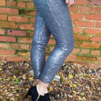 Glam It Up Sequined Leggings - Silver