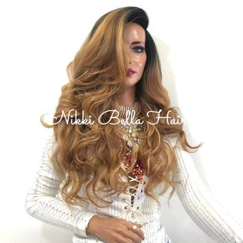 "Balayage Ombre Brown Blonde SWISS Lace Front Wig | 18"" Melania 1118 53*******"