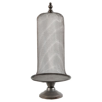 "24"" Metal Pedestal Cloche,"