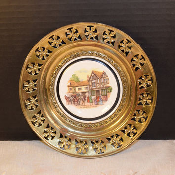 Regency Bone China and Brass Wall Plate England Vintage Old Coach House Brass Framed Plate English Village English Tavern Pub Decor