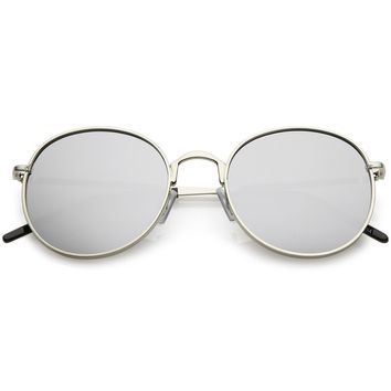 Classic Metal Round Sunglasses Thin Arms Colored Mirror Flat Lens 52mm