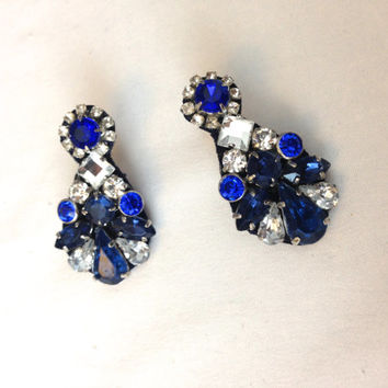 Royal Blue Crystal Sapphire Statement Pendant Earrings