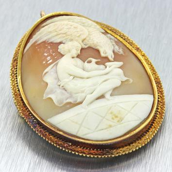 1860s Antique Victorian 14K Solid Yellow Gold Engraved Cameo Pin Brooch Pendant