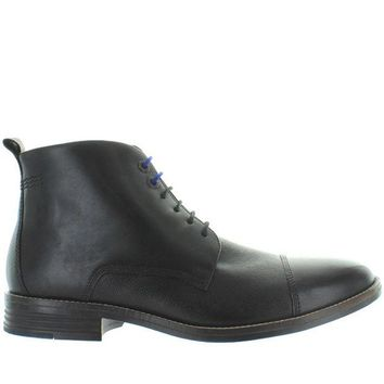 ONETOW Hush Puppies Gage Parkview - Black Leather Cap Toe Lace-Up Boot