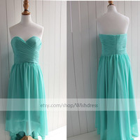 Handmade Sweetheart High Low Turquoise Bridesmaid Dress/ Cocktail Dress/ Wedding Party Dress/ Blue Hi-lo Prom Dress
