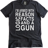 Armed with Reason and a Gun Premium Dual Blend T-Shirt