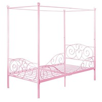 Pink Canopy Twin Bed Frame Made With Sturdy Metal For Children's  Bedroom  Does Not Include Mattress
