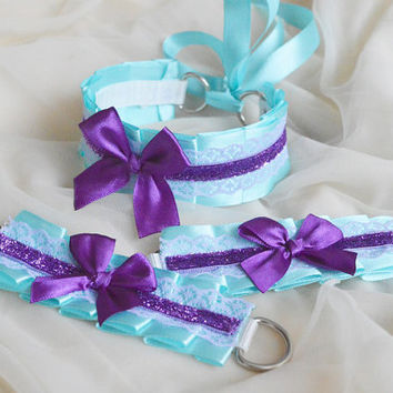 Kitten play collar and cuffs - Heavenly baby - ddlg cgl princess cute neko sweet kawaii lolita costume - pastel blue and violet choker set