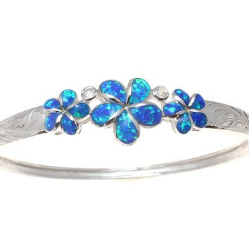INLAY OPAL HAWAIIAN 3 PLUMERIA BANGLE HAWAIIAN SCROLL CZ STERLING SILVER 925