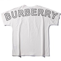 Burberry 2019 new tide brand back letter printed sleeve round neck T-shirt white