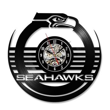 Antique Hollow Style Round CD Record Clock NFL SEATTLE SEAHAWKS Shape Creative Wall Art Hanging LED Clock Room Decor Clock