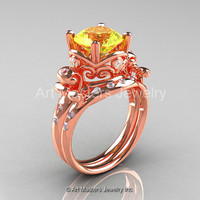 Art Masters Vintage 14K Rose Gold 3.0 Ct Yellow Sapphire Diamond Wedding Ring Set R167S-14KRGDYS