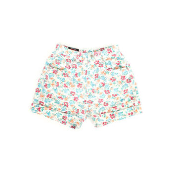 90s floral denim high waisted shorts - vintage 1990s - high rise jean shorts - womens size 7